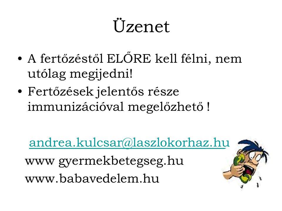 Üzenet A fertőzéstől ELŐRE kell félni, nem utólag megijedni! Fertőzések jelentős része immunizációval megelőzhető ! andrea.kulcsar@laszlokorhaz.hu www