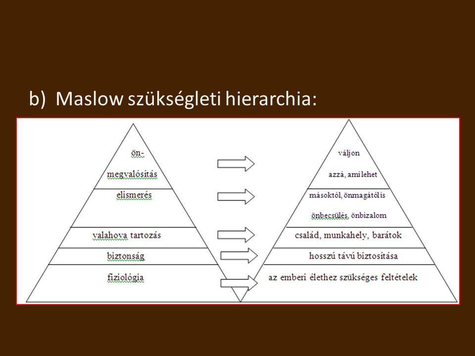 b)Maslow szükségleti hierarchia: