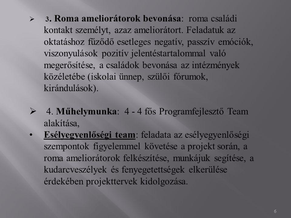 6  3. Roma ameliorátorok bevonása: roma családi kontakt személyt, azaz ameliorátort.