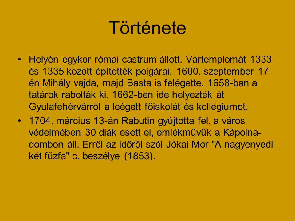 Története Helyén egykor római castrum állott. Vártemplomát 1333 és 1335 között építették polgárai. 1600. szeptember 17- én Mihály vajda, majd Basta is
