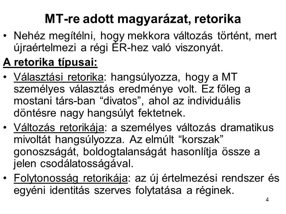 4 MT-re adott magyarázat, retorika Nehéz megítélni, hogy mekkora változás történt, mert újraértelmezi a régi ÉR-hez való viszonyát. A retorika típusai
