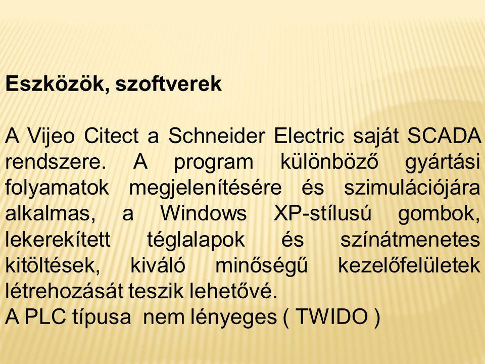 Eszközök, szoftverek A Vijeo Citect a Schneider Electric saját SCADA rendszere. A program különböző gyártási folyamatok megjelenítésére és szimulációj