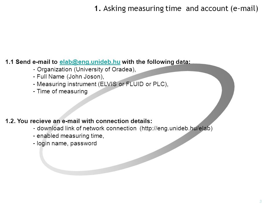 1. Asking measuring time and account (e-mail) 1.1 Send e-mail to elab@eng.unideb.hu with the following data:elab@eng.unideb.hu - Organization (Univers