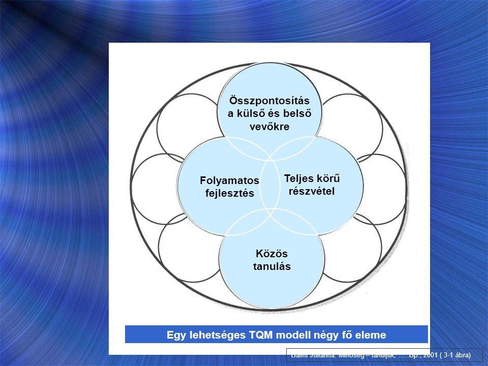Bálint Julianna: Minőség – tanuljuk, …..Bp., 2001 ( 3-1 ábra) Folyamatos fejlesztés Közös tanulás Összpontosítás a külső és belső vevőkre Teljes körű