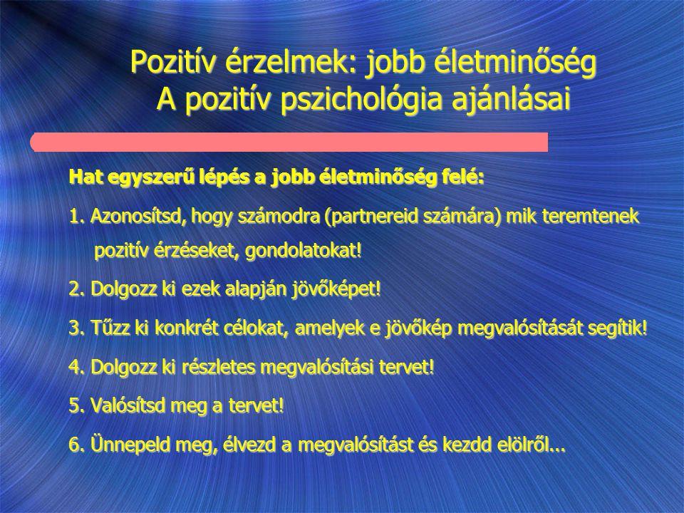 Pozitív érzelmek: jobb életminőség A pozitív pszichológia ajánlásai Hat egyszerű lépés a jobb életminőség felé: 1. Azonosítsd, hogy számodra (partnere