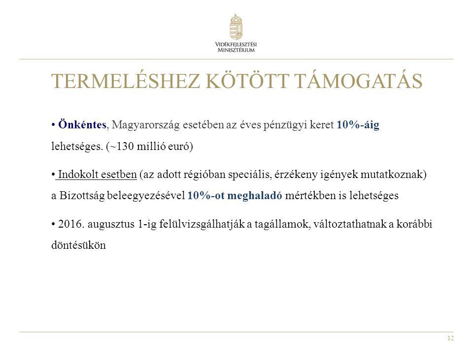 12 TERMELÉSHEZ KÖTÖTT TÁMOGATÁS Önkéntes, Magyarország esetében az éves pénzügyi keret 10%-áig lehetséges. (~130 millió euró) Indokolt esetben (az ado