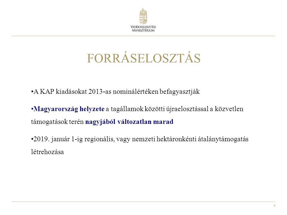 4 FORRÁSELOSZTÁS A KAP kiadásokat 2013-as nominálértéken befagyasztják Magyarország helyzete a tagállamok közötti újraelosztással a közvetlen támogatások terén nagyjából változatlan marad 2019.