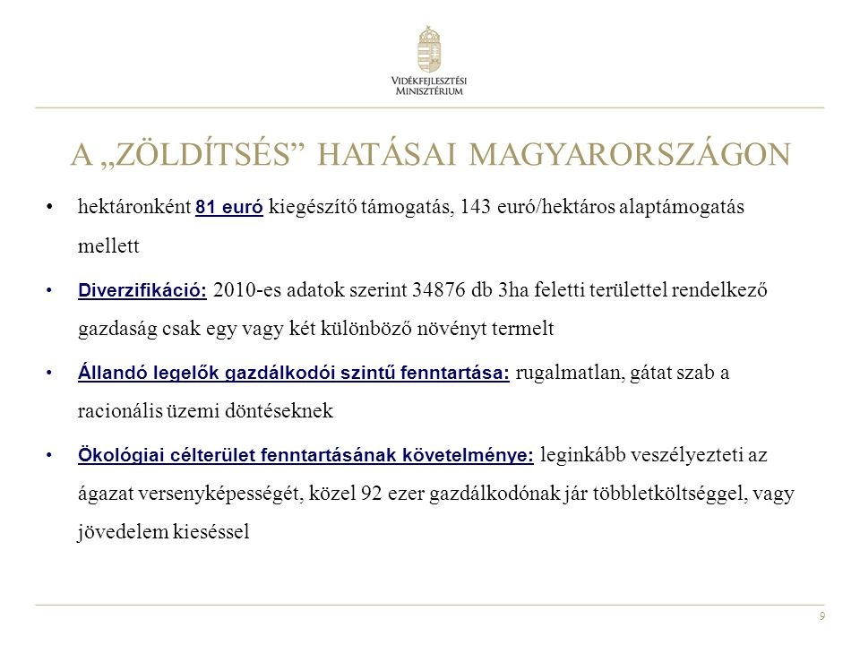 """9 A """"ZÖLDÍTSÉS"""" HATÁSAI MAGYARORSZÁGON hektáronként 81 euró kiegészítő támogatás, 143 euró/hektáros alaptámogatás mellett Diverzifikáció: 2010-es adat"""