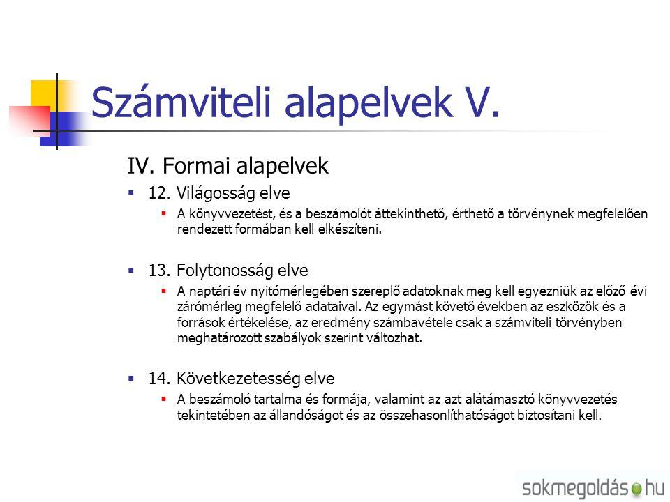 Számviteli alapelvek V. IV. Formai alapelvek  12. Világosság elve  A könyvvezetést, és a beszámolót áttekinthető, érthető a törvénynek megfelelően r