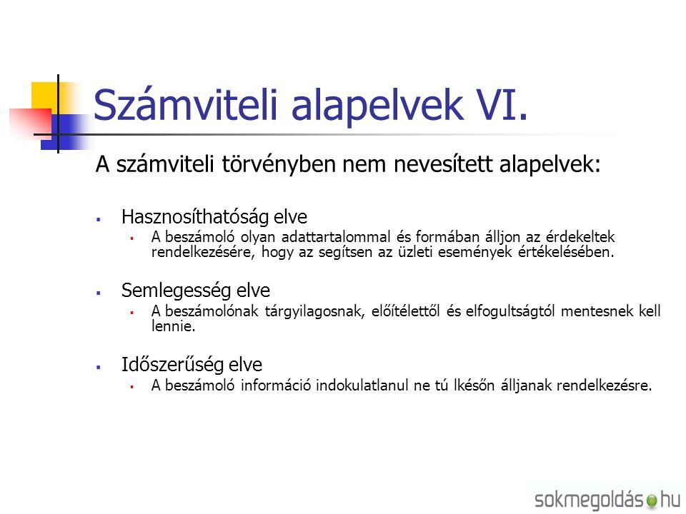 Számviteli alapelvek VI. A számviteli törvényben nem nevesített alapelvek:  Hasznosíthatóság elve  A beszámoló olyan adattartalommal és formában áll