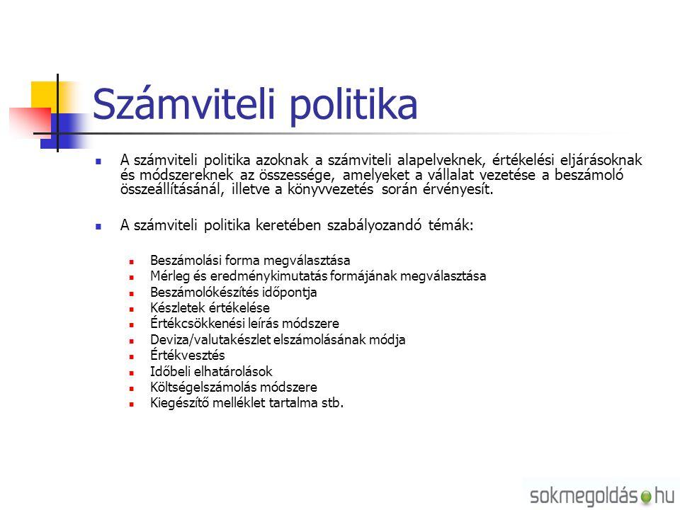 Számviteli politika A számviteli politika azoknak a számviteli alapelveknek, értékelési eljárásoknak és módszereknek az összessége, amelyeket a vállal