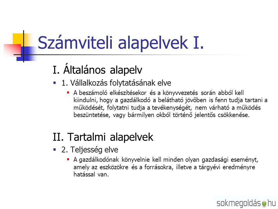 Számviteli alapelvek I. I. Általános alapelv  1. Vállalkozás folytatásának elve  A beszámoló elkészítésekor és a könyvvezetés során abból kell kiind
