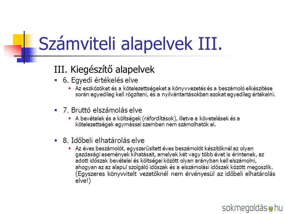Számviteli alapelvek III. III. Kiegészítő alapelvek  6. Egyedi értékelés elve  Az eszközöket és a kötelezettségeket a könyvvezetés és a beszámoló el