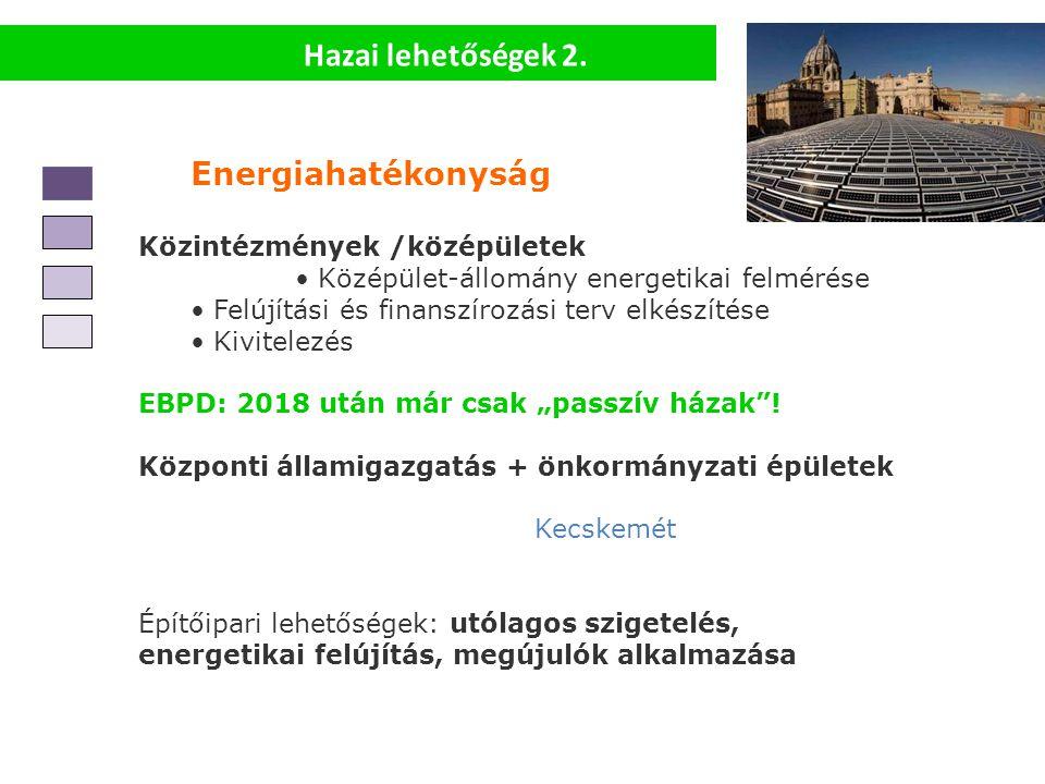 Hazai lehetőségek 2. Energiahatékonyság Közintézmények /középületek Középület-állomány energetikai felmérése Felújítási és finanszírozási terv elkészí