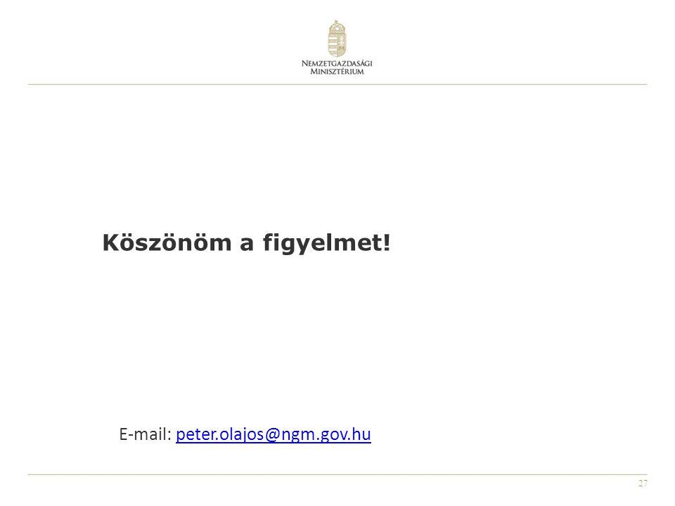 27 E-mail: peter.olajos@ngm.gov.hupeter.olajos@ngm.gov.hu Köszönöm a figyelmet!