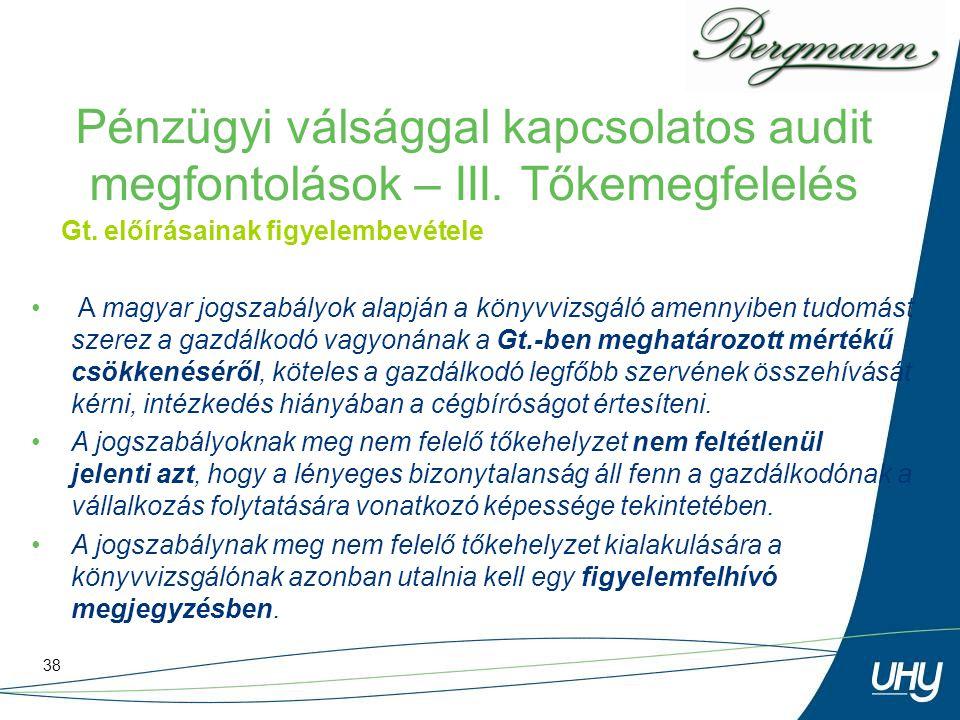 38 Pénzügyi válsággal kapcsolatos audit megfontolások – III. Tőkemegfelelés Gt. előírásainak figyelembevétele A magyar jogszabályok alapján a könyvviz