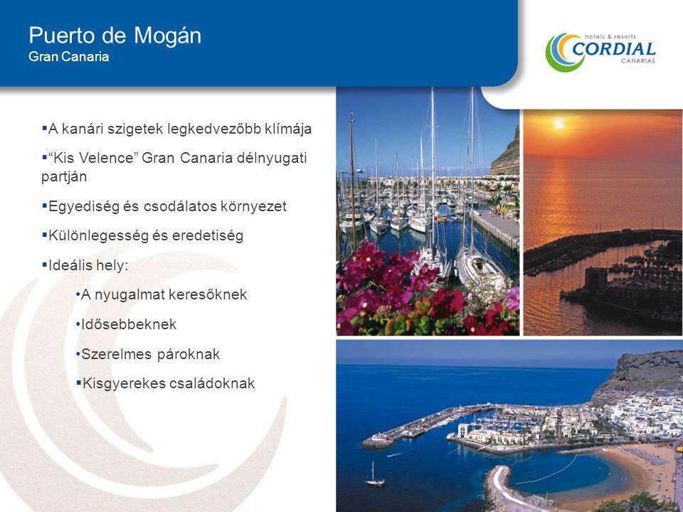Puerto de Mogán Gran Canaria  A kanári szigetek legkedvezőbb klímája  Kis Velence Gran Canaria délnyugati partján  Egyediség és csodálatos környezet  Különlegesség és eredetiség  Ideális hely: A nyugalmat keresőknek Idősebbeknek Szerelmes pároknak  Kisgyerekes családoknak