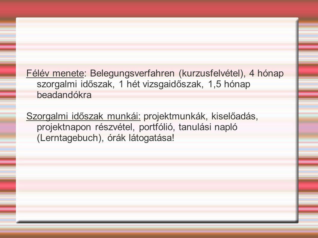 Félév menete: Belegungsverfahren (kurzusfelvétel), 4 hónap szorgalmi időszak, 1 hét vizsgaidőszak, 1,5 hónap beadandókra Szorgalmi időszak munkái: projektmunkák, kiselőadás, projektnapon részvétel, portfólió, tanulási napló (Lerntagebuch), órák látogatása!