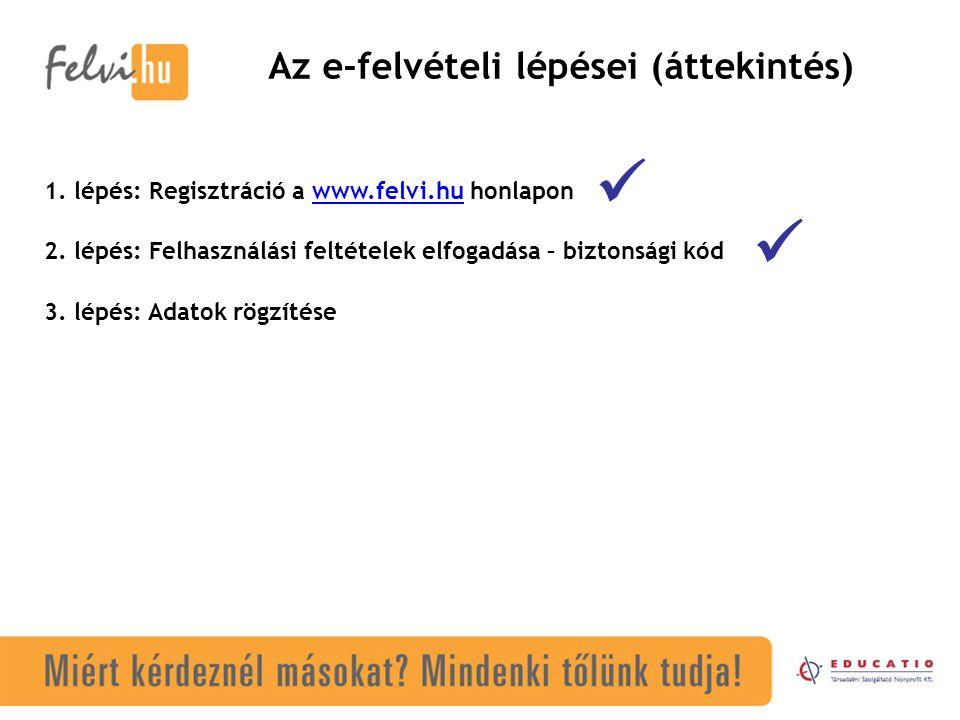 Az e-felvételi lépései (áttekintés) 1.lépés: Regisztráció a www.felvi.hu honlaponwww.felvi.hu 2.