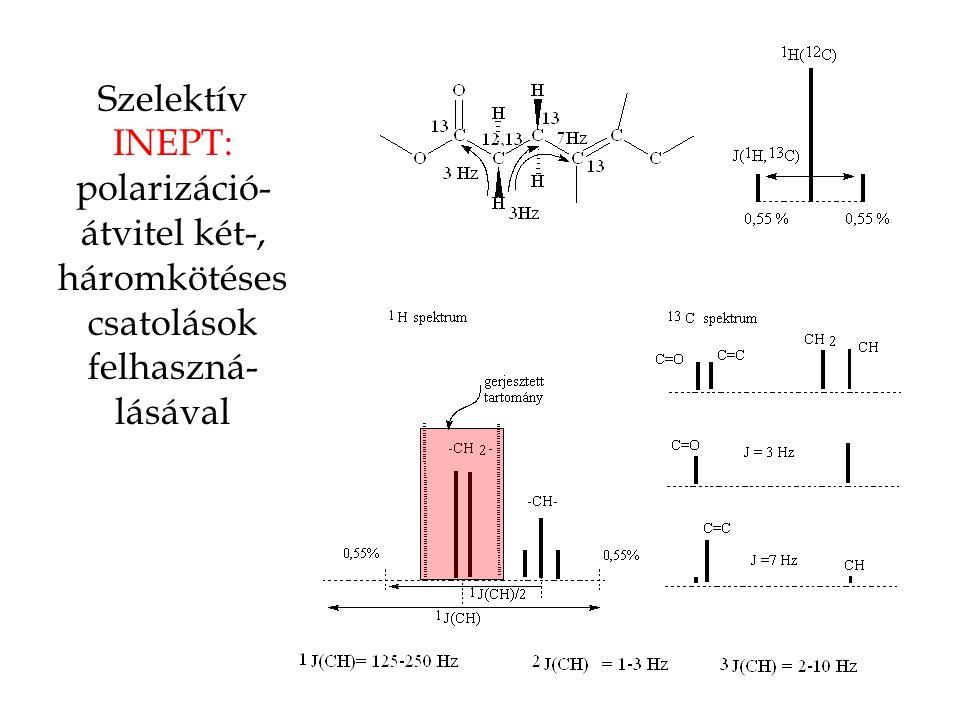 Szelektív INEPT: polarizáció- átvitel két-, háromkötéses csatolások felhaszná- lásával