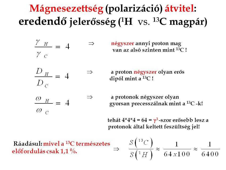 Mágnesezettség (polarizáció) átvitel: eredendő jelerősség ( 1 H vs. 13 C magpár)  négyszer annyi proton mag van az alsó szinten mint 13 C !  a proto