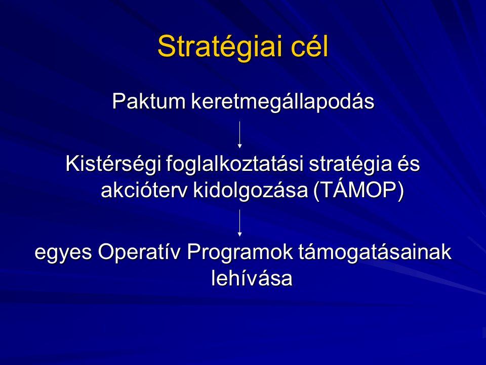 Stratégiai cél Paktum keretmegállapodás Kistérségi foglalkoztatási stratégia és akcióterv kidolgozása (TÁMOP) egyes Operatív Programok támogatásainak lehívása