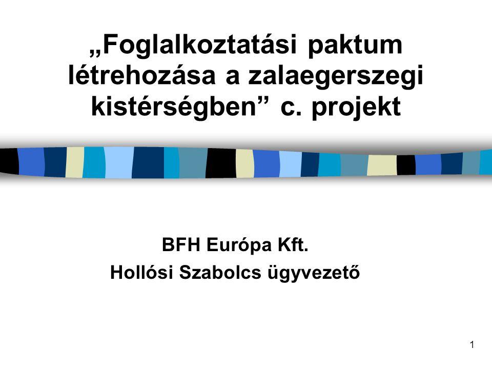 """1 """"Foglalkoztatási paktum létrehozása a zalaegerszegi kistérségben"""" c. projekt BFH Európa Kft. Hollósi Szabolcs ügyvezető"""