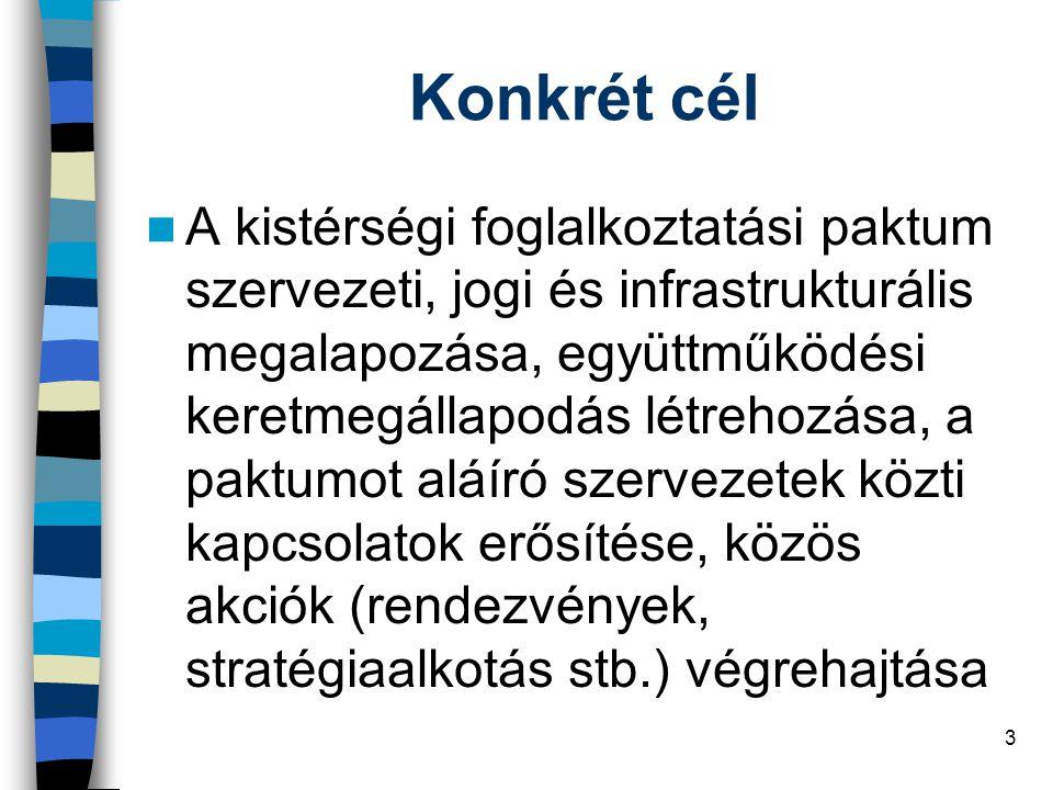 3 Konkrét cél A kistérségi foglalkoztatási paktum szervezeti, jogi és infrastrukturális megalapozása, együttműködési keretmegállapodás létrehozása, a