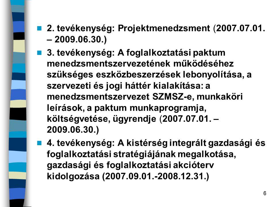 6 2. tevékenység: Projektmenedzsment (2007.07.01. – 2009.06.30.) 3. tevékenység: A foglalkoztatási paktum menedzsmentszervezetének működéséhez szükség