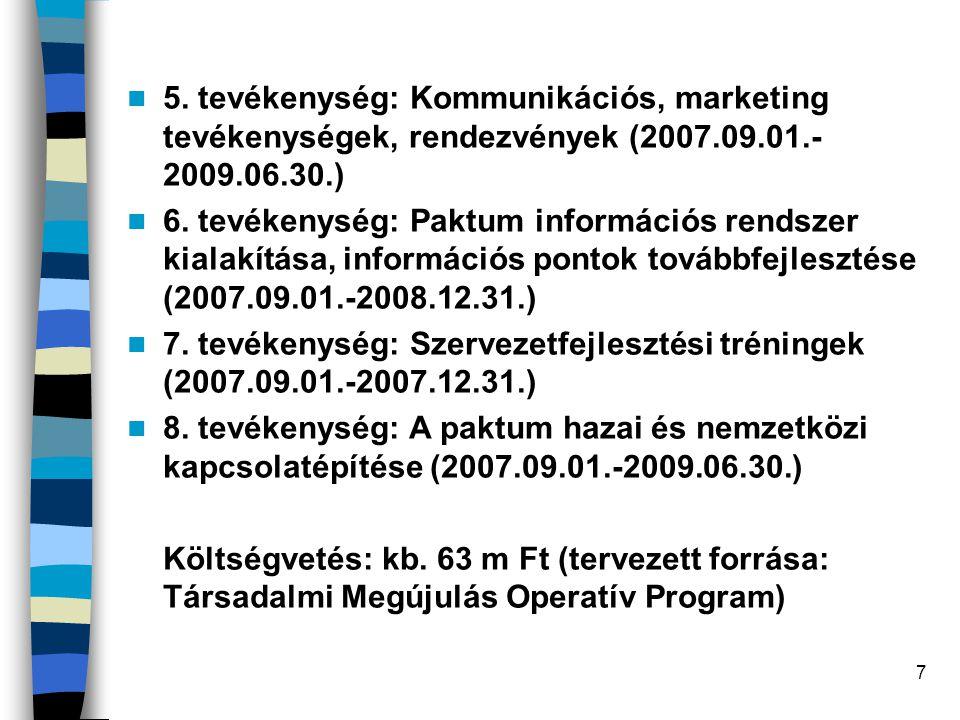 7 5. tevékenység: Kommunikációs, marketing tevékenységek, rendezvények (2007.09.01.- 2009.06.30.) 6. tevékenység: Paktum információs rendszer kialakít
