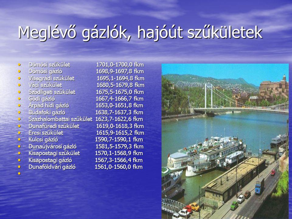Meglévő gázlók, hajóút szűkületek Dömösi szűkület 1701,0-1700,0 fkm Dömösi szűkület 1701,0-1700,0 fkm Dömösi gázló 1698,9-1697,8 fkm Dömösi gázló 1698