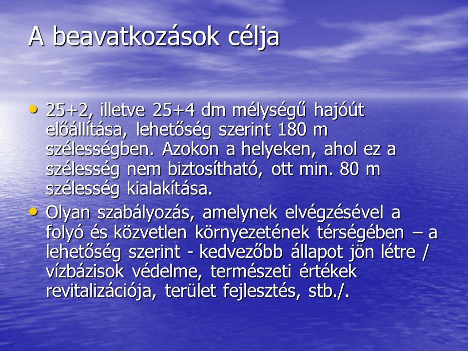 A beavatkozások célja 25+2, illetve 25+4 dm mélységű hajóút előállítása, lehetőség szerint 180 m szélességben. Azokon a helyeken, ahol ez a szélesség
