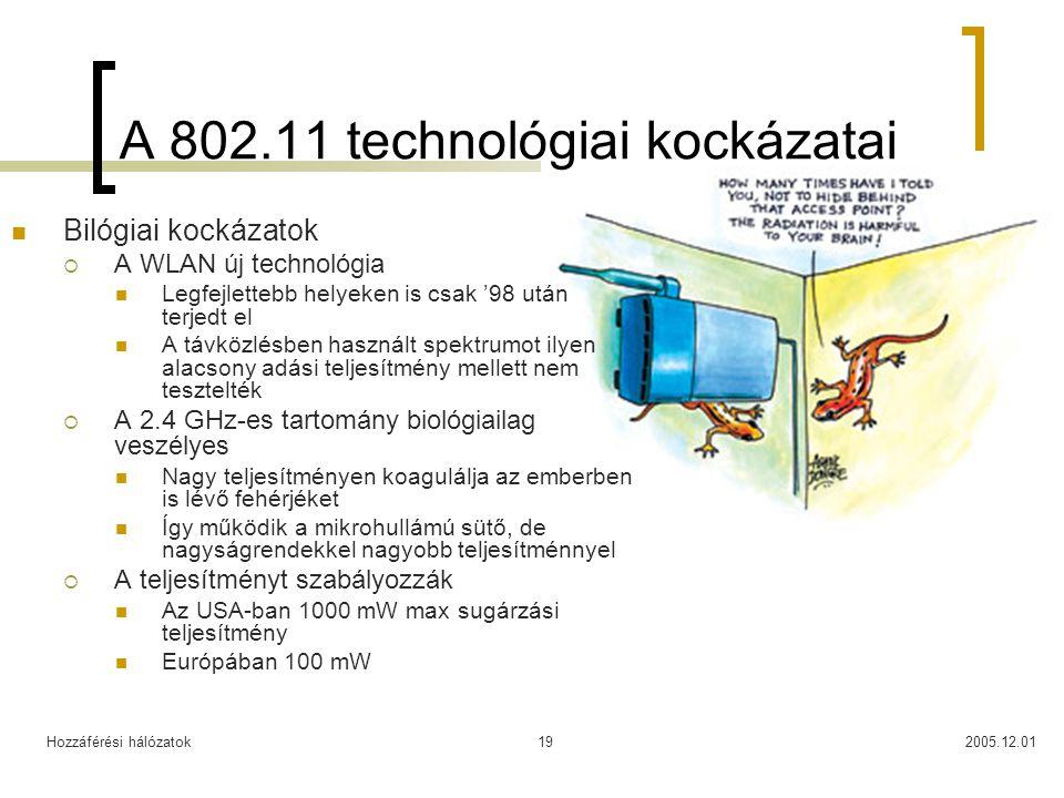 Hozzáférési hálózatok2005.12.0119 A 802.11 technológiai kockázatai Bilógiai kockázatok  A WLAN új technológia Legfejlettebb helyeken is csak '98 után terjedt el A távközlésben használt spektrumot ilyen alacsony adási teljesítmény mellett nem tesztelték  A 2.4 GHz-es tartomány biológiailag veszélyes Nagy teljesítményen koagulálja az emberben is lévő fehérjéket Így működik a mikrohullámú sütő, de nagyságrendekkel nagyobb teljesítménnyel  A teljesítményt szabályozzák Az USA-ban 1000 mW max sugárzási teljesítmény Európában 100 mW