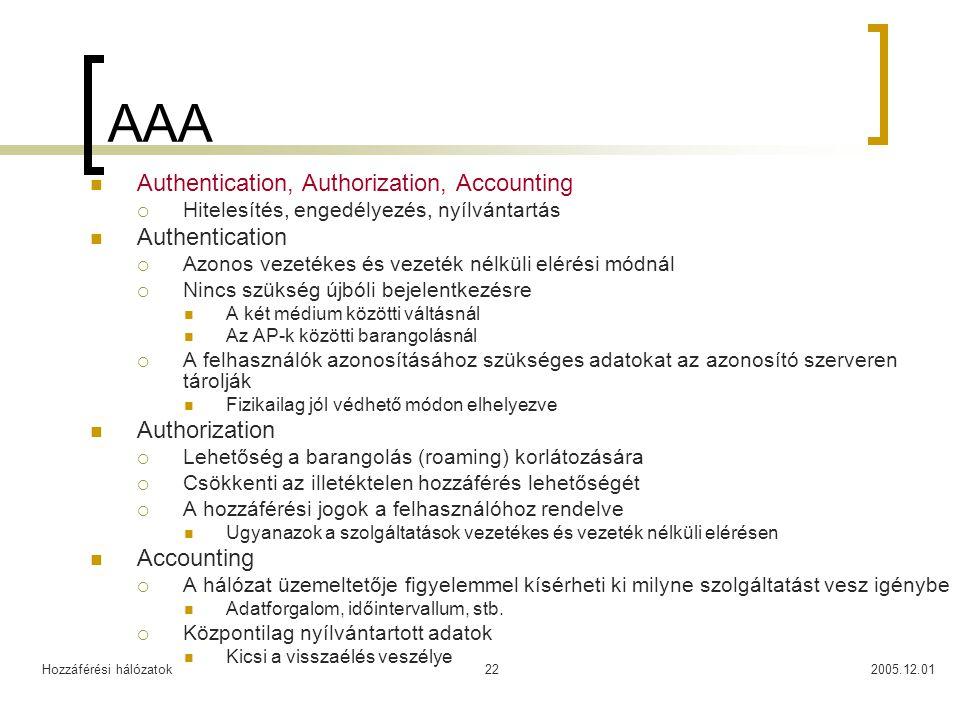 Hozzáférési hálózatok2005.12.0122 AAA Authentication, Authorization, Accounting  Hitelesítés, engedélyezés, nyílvántartás Authentication  Azonos vezetékes és vezeték nélküli elérési módnál  Nincs szükség újbóli bejelentkezésre A két médium közötti váltásnál Az AP-k közötti barangolásnál  A felhasználók azonosításához szükséges adatokat az azonosító szerveren tárolják Fizikailag jól védhető módon elhelyezve Authorization  Lehetőség a barangolás (roaming) korlátozására  Csökkenti az illetéktelen hozzáférés lehetőségét  A hozzáférési jogok a felhasználóhoz rendelve Ugyanazok a szolgáltatások vezetékes és vezeték nélküli elérésen Accounting  A hálózat üzemeltetője figyelemmel kísérheti ki milyne szolgáltatást vesz igénybe Adatforgalom, időintervallum, stb.
