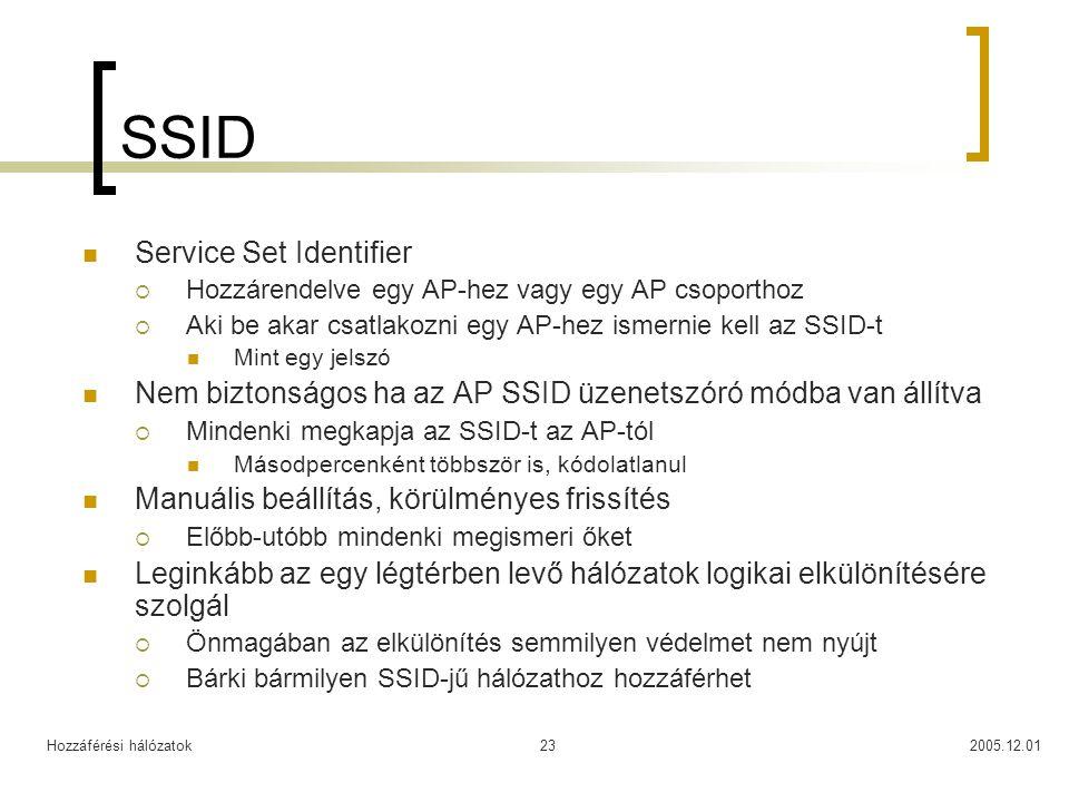 Hozzáférési hálózatok2005.12.0123 SSID Service Set Identifier  Hozzárendelve egy AP-hez vagy egy AP csoporthoz  Aki be akar csatlakozni egy AP-hez ismernie kell az SSID-t Mint egy jelszó Nem biztonságos ha az AP SSID üzenetszóró módba van állítva  Mindenki megkapja az SSID-t az AP-tól Másodpercenként többször is, kódolatlanul Manuális beállítás, körülményes frissítés  Előbb-utóbb mindenki megismeri őket Leginkább az egy légtérben levő hálózatok logikai elkülönítésére szolgál  Önmagában az elkülönítés semmilyen védelmet nem nyújt  Bárki bármilyen SSID-jű hálózathoz hozzáférhet