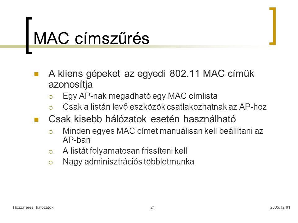 Hozzáférési hálózatok2005.12.0124 MAC címszűrés A kliens gépeket az egyedi 802.11 MAC címük azonosítja  Egy AP-nak megadható egy MAC címlista  Csak a listán levő eszközök csatlakozhatnak az AP-hoz Csak kisebb hálózatok esetén használható  Minden egyes MAC címet manuálisan kell beállítani az AP-ban  A listát folyamatosan frissíteni kell  Nagy adminisztrációs többletmunka