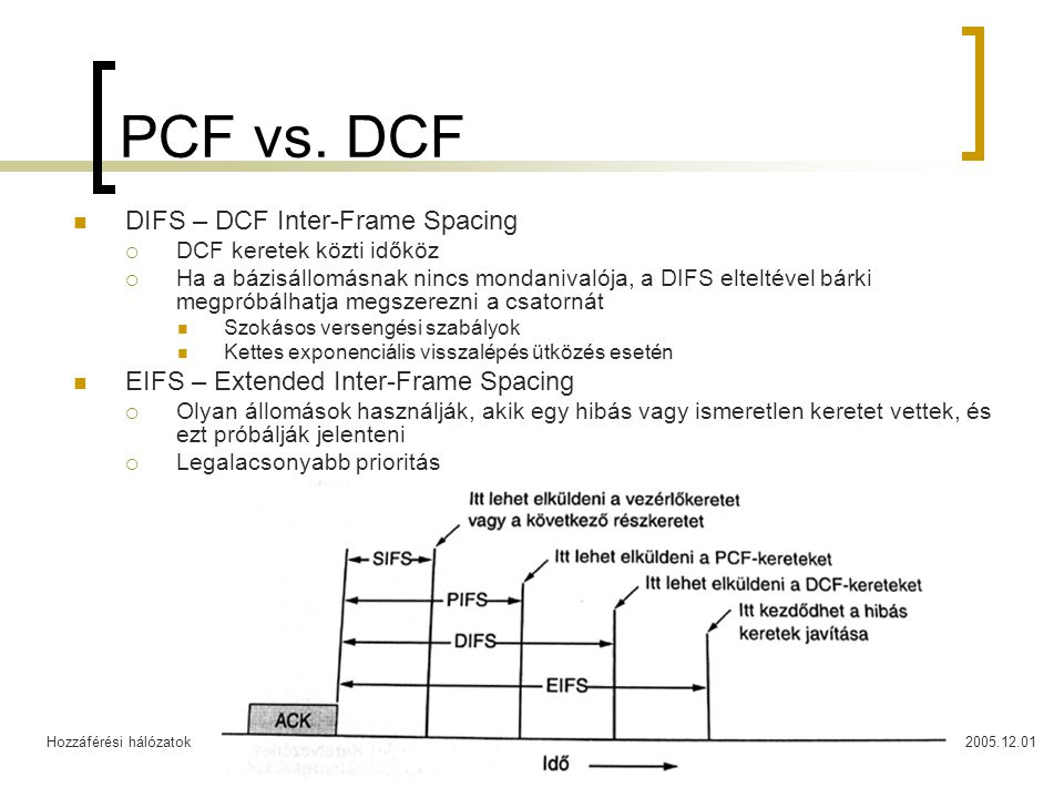 Hozzáférési hálózatok2005.12.0126 Diameter A RADIUS-t nem vezeték nélküli hálózatokra fejlesztették ki  Hiányoznak a meghibásodás kezelési algoritmusok a túl nagy várakozási idők kiküszöbölésére  A kommunikációs hibákból adódó lassú vagy hibás működés nincs kezelve  Hiányzik a biztonságos kommunikáció lehetősége  A RADIUS UDP csomagokat használ Nem garantalható célbaérésük Nincs definiálva semmilyen újraküldési eljárás Diameter  Nem rövidítés  TCP-t használ a kommunikációra  Szolgáltatás egyeztetés Capability Navigation Heterogén környezetben a kliens és a szerver lekérdezheti egymástól a támogatott funkciókat, a szükséges paramétereket  Hiba értesítés