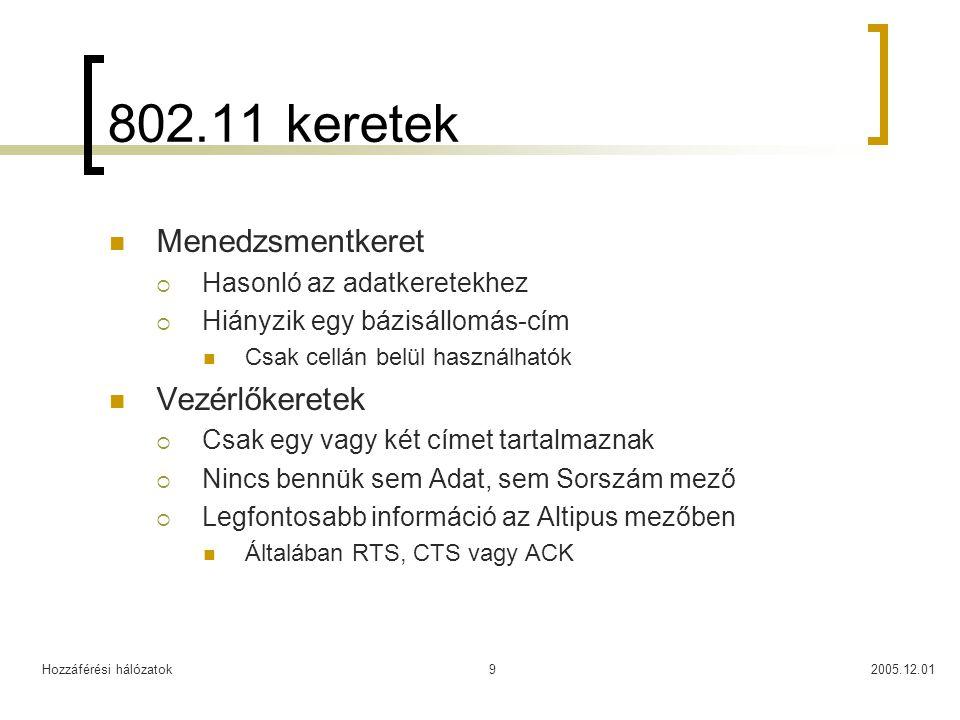 Hozzáférési hálózatok2005.12.019 802.11 keretek Menedzsmentkeret  Hasonló az adatkeretekhez  Hiányzik egy bázisállomás-cím Csak cellán belül használhatók Vezérlőkeretek  Csak egy vagy két címet tartalmaznak  Nincs bennük sem Adat, sem Sorszám mező  Legfontosabb információ az Altipus mezőben Általában RTS, CTS vagy ACK