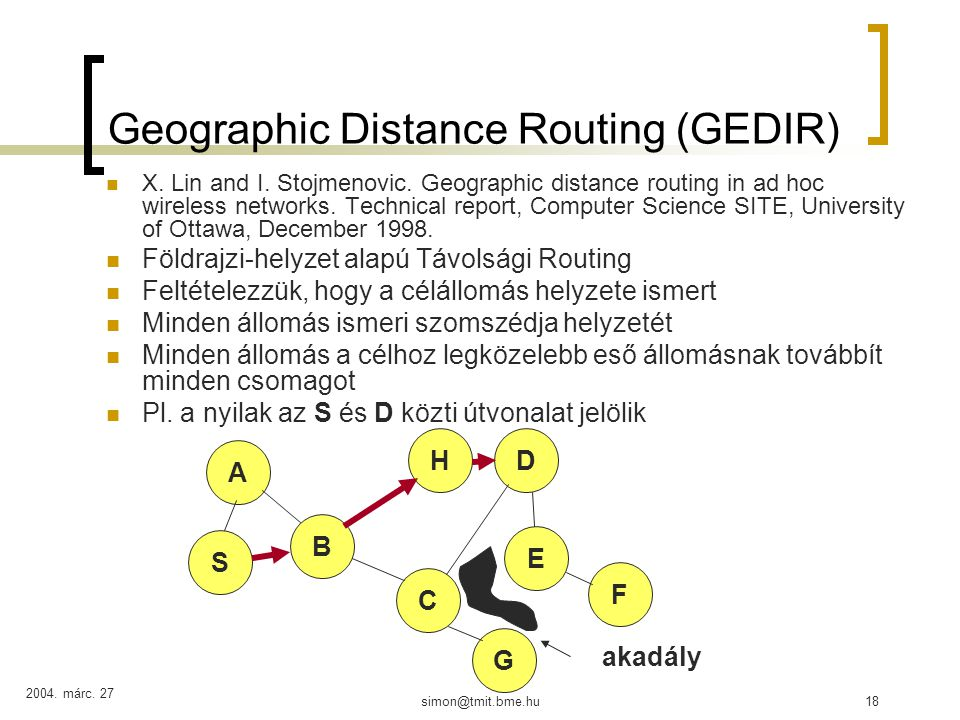 2004. márc. 27 simon@tmit.bme.hu18 Geographic Distance Routing (GEDIR) X. Lin and I. Stojmenovic. Geographic distance routing in ad hoc wireless netwo