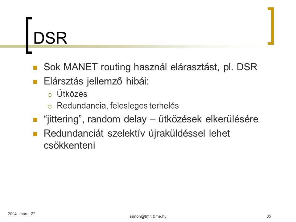 2004. márc. 27 simon@tmit.bme.hu35 DSR Sok MANET routing használ elárasztást, pl.