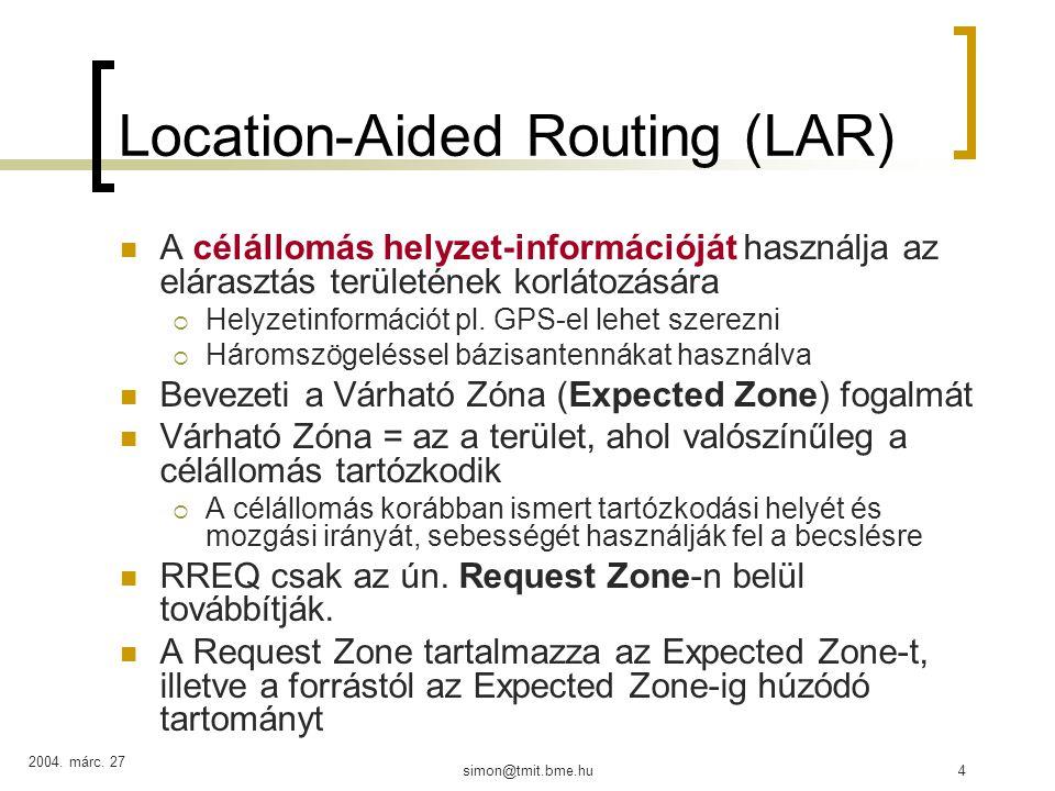 2004.márc. 27 simon@tmit.bme.hu35 DSR Sok MANET routing használ elárasztást, pl.