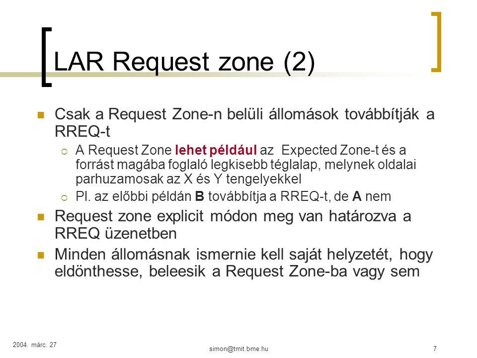 2004.márc. 27 simon@tmit.bme.hu18 Geographic Distance Routing (GEDIR) X.