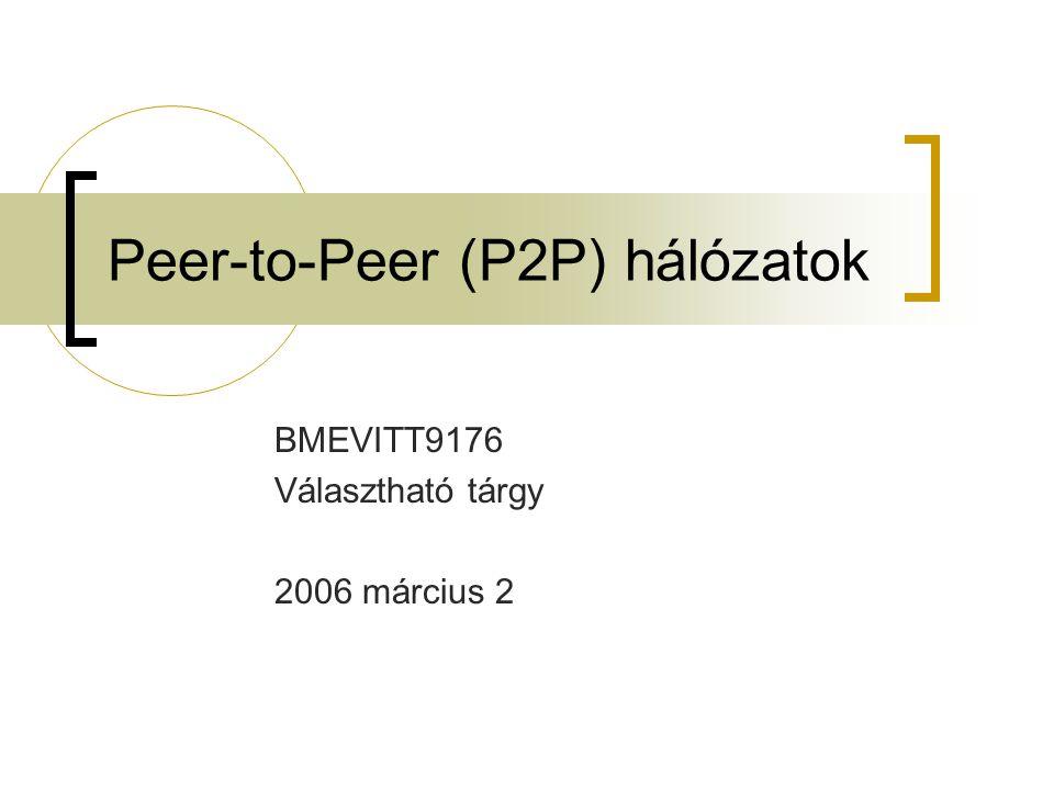 2006 március 2P2P hálózatok 22 Követelmények: O(M) állapot M a megosztott állományok száma Központi elem kiesése megbénítja a rendszert Internet Publisher Key= LetItBe Value=MP3 data Lookup( LetItBe ) N1N1 N2N2 N3N3 N5N5 N4N4 Client DB Központi szerver (pl.: Napster) Központosított megoldás
