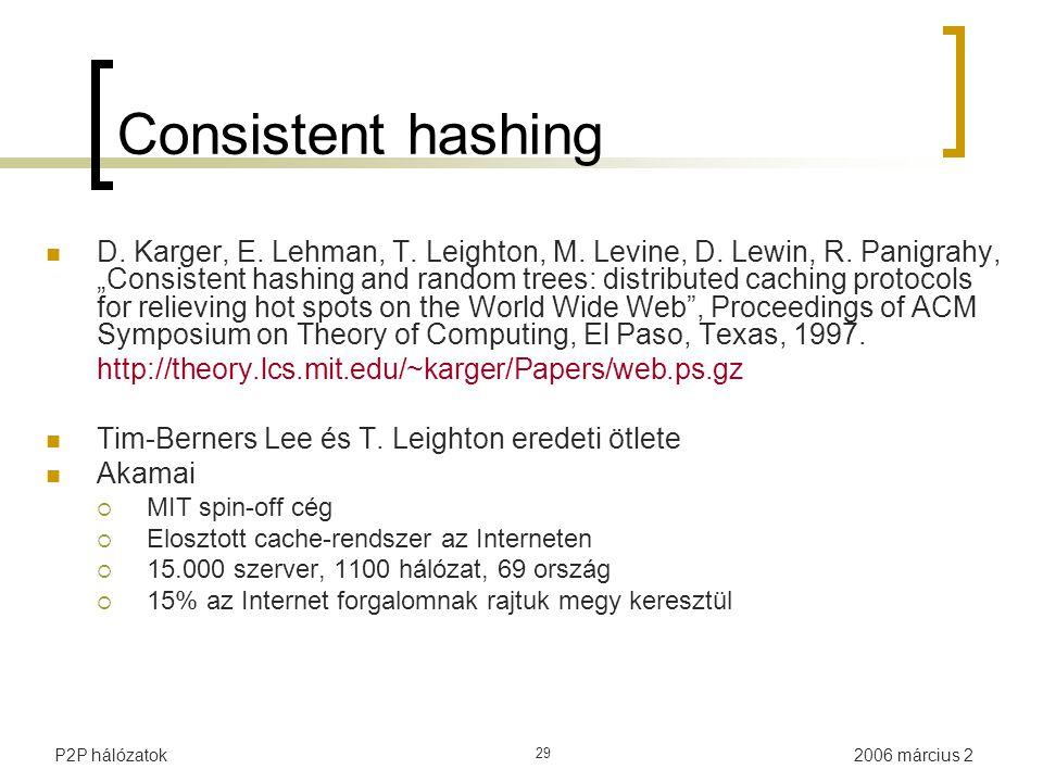"2006 március 2P2P hálózatok 29 Consistent hashing D. Karger, E. Lehman, T. Leighton, M. Levine, D. Lewin, R. Panigrahy, ""Consistent hashing and random"