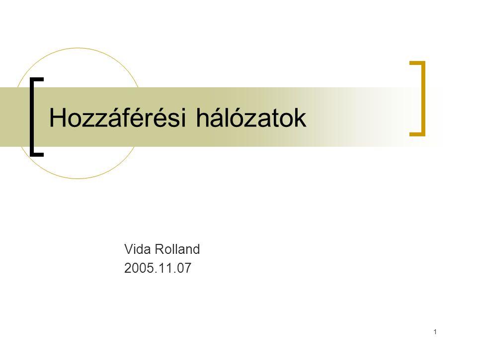 1 Hozzáférési hálózatok Vida Rolland 2005.11.07