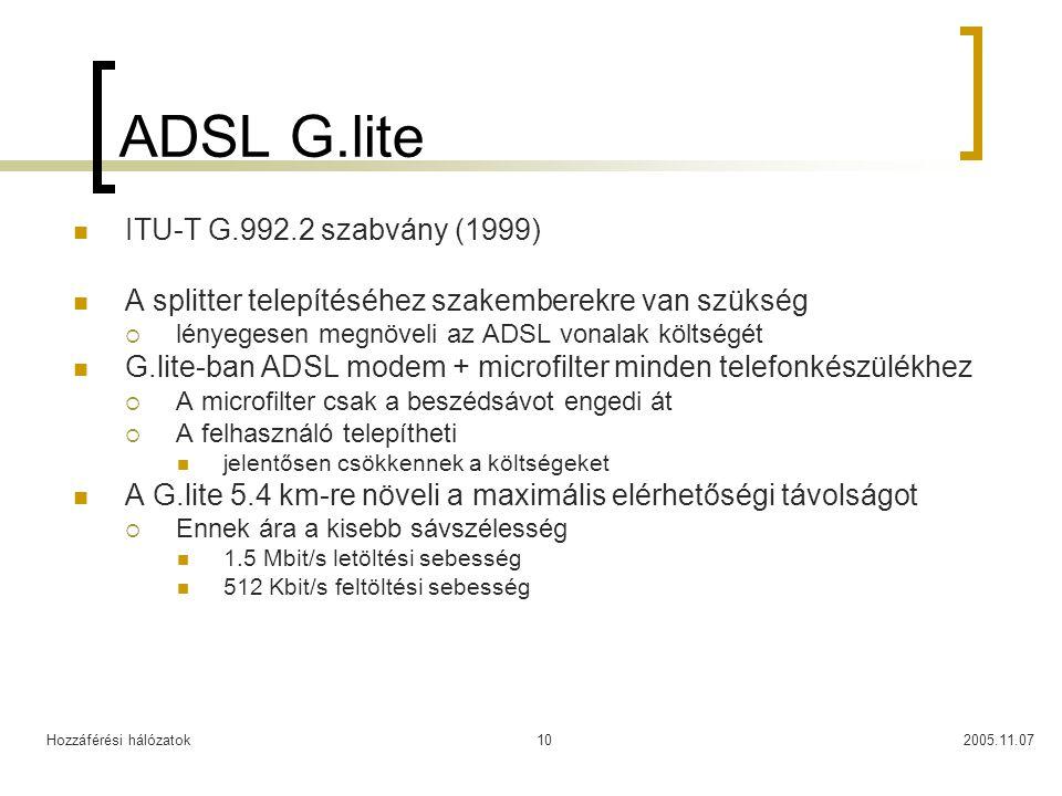 Hozzáférési hálózatok2005.11.0710 ADSL G.lite ITU-T G.992.2 szabvány (1999) A splitter telepítéséhez szakemberekre van szükség  lényegesen megnöveli