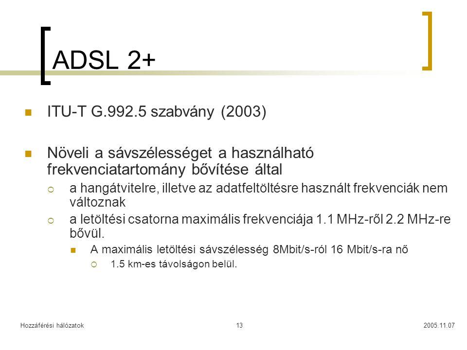 Hozzáférési hálózatok2005.11.0713 ADSL 2+ ITU-T G.992.5 szabvány (2003) Növeli a sávszélességet a használható frekvenciatartomány bővítése által  a h