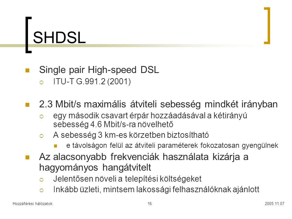 Hozzáférési hálózatok2005.11.0716 SHDSL Single pair High-speed DSL  ITU-T G.991.2 (2001) 2.3 Mbit/s maximális átviteli sebesség mindkét irányban  eg