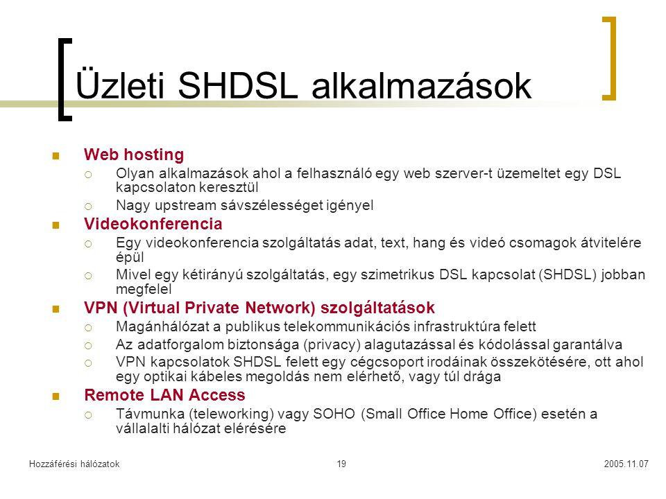 Hozzáférési hálózatok2005.11.0719 Üzleti SHDSL alkalmazások Web hosting  Olyan alkalmazások ahol a felhasználó egy web szerver-t üzemeltet egy DSL ka