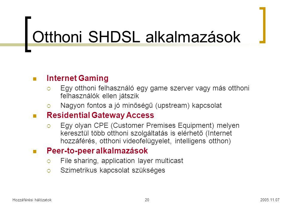 Hozzáférési hálózatok2005.11.0720 Otthoni SHDSL alkalmazások Internet Gaming  Egy otthoni felhasználó egy game szerver vagy más otthoni felhasználók